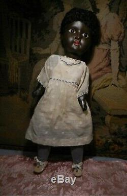 16 Antique Black Painted Bisque Child, Glass Eyes, As Found