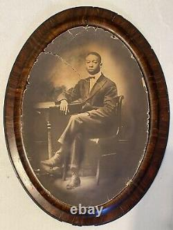 1896 Antique Convex Photo Young Black Man Full Portrait African American Framed
