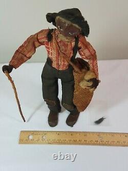 1930s Nut Head Doll'Old Black Joe' LOVELEIGH Novelty Americana Walnut Folk Art