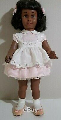 1960's MATTEL Black Afro American CHATTY CATHY Doll A. O. Pink Candy Stripe Dress