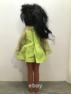 1969 Ideal Black African American CRISSY Grow Hair Doll in Green Dress
