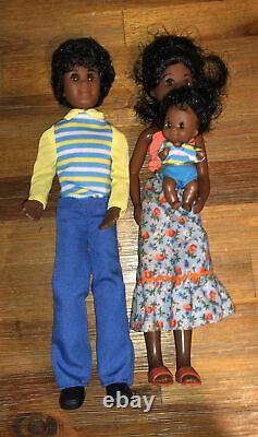1973 Mattel African American Black Happy Family Dolls Hal Hattie & Hon