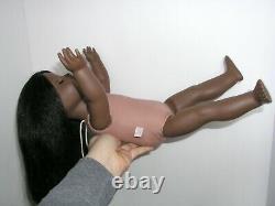 #1 African American Girl DOLL Black Hair Brown Eyes Dark Skin ADDY MOLD Restrung