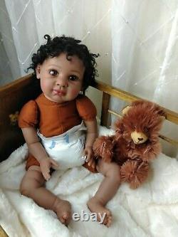 21-22 Reborn Baby Doll Soft Vinyl AA/African/Ethnic/Black Realistic Boy