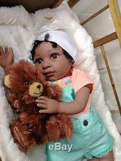 21-22 Reborn Baby Doll Soft Vinyl African Ethnic Black Realistic Girl