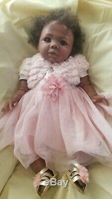 22 African American baby girl reborn doll awake ethnic biracial black ooak