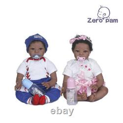 22 Realistic African American Baby Reborn Dolls Twins Boy+girl Real Black Baby
