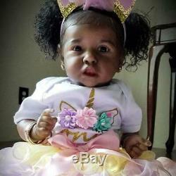 22'' Realistic Black Reborn Saskia Baby Toddler Doll Girl Linda Toy
