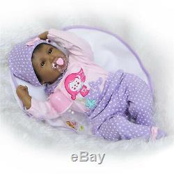 22 Reborn Baby Dolls African American Girl Twins Silicone Vinyl Doll Black Skin