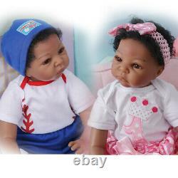 22 inch Black Twins Babys Lifelike Biracial African American Reborn Baby Dolls