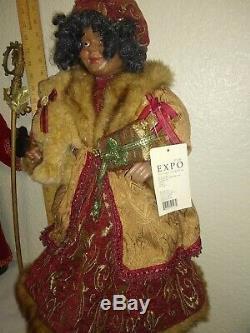23 Santa Mr & Mrs Claus 23 African American Black dolls Porcelain/plastic