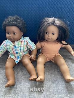 2 American Girl Bitty Baby Doll African Black Hair Brown Eyes Afro Straight Hair