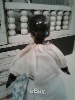 5 Antique BLACK CHINA HEAD DOLLHOUSE DOLL with Unusual Molded Headband