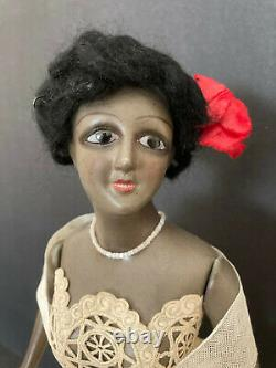 73 Antique mystery black boudoir or half doll. French cut head. Fabulous