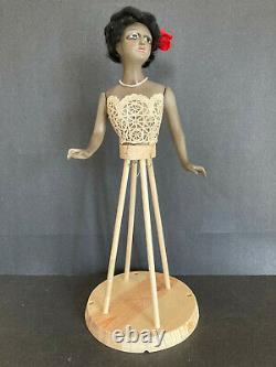73 Rare Antique mystery black boudoir or half doll. French cut head. Lamp doll
