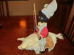 9 Tall Antique Bisque Clown Riding Pig Candy Container