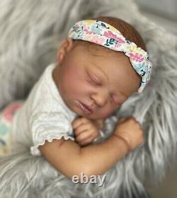 AA Biracial Black Reborn Girl Baby Doll Skya asleep Bountiful Baby
