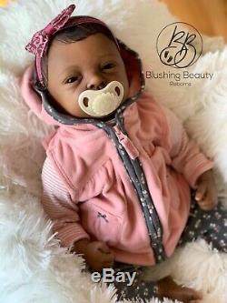 AA ethnic black reborn girl reborn Elodie by Evelina Wosnjuk open eye doll