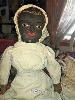 AUTHENTIC Antique cloth doll RARE BEECHER type black americana ORIG clothes eyes