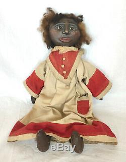 A Vintage GROUP OF FOUR Handmade Primitive Black Americana Folk Art Cloth Dolls