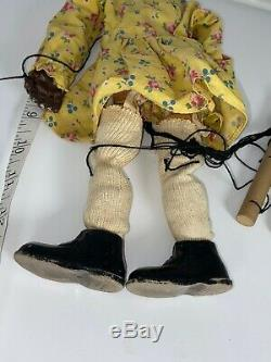 African American Girl Doll Marionette Puppet Curtis Crafts Black Americana