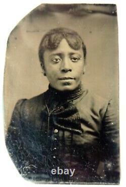 African american black lady ferrotype jeune femme noire O777