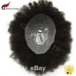 Afro Curl Mens Toupee All Skin Poly African American Hairpiece Natural Black 8mm