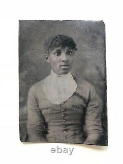 Amazing African American Tintype Portrait Of Woman Photograph Black