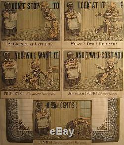 Antique 1882 African American Black Memorabilia Quintuplets Baby Chicago Prints