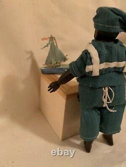 Antique 1890 Jolly little sailor 6 small doll restored, handcarved wooden limbs