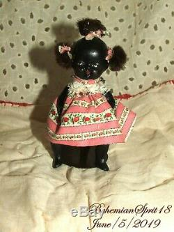 Antique 1930's Signed Japan African American Double Jointed Bisque 4'' GIRL Doll