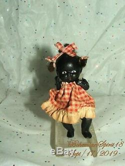 Antique 30's Japan African American Jointed Bisque 4'' GIRL Checkered Dress Doll