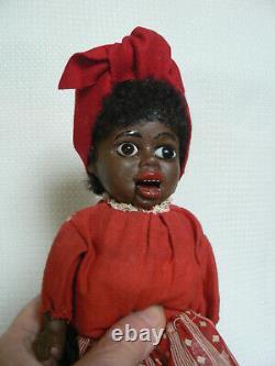 Antique Black Bellows Doll Original Clothing Rare 12 Germany