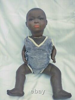 Antique Black Bisque Baby Original Body German Unknown Maker 16 Karl Bauman