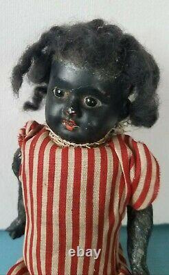 Antique Black Bisque Head German Doll 5Part Composition Body 9Boy or Girl Child