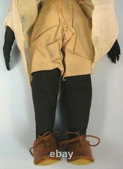 Antique Black Cloth Folk Art Doll Handmade 13 Wonderful