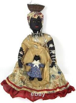 Antique Brazilian Bahia Folk Art Cloth Doll & Baby