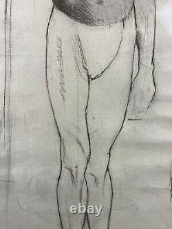 Antique Circa 1900 Academic Drawing Study of Nude African American Man, Framed