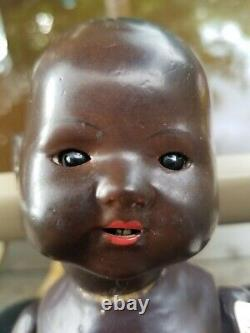 Antique German Armand Marseille Black Baby Doll, Composition Head And Body, Rare