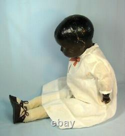 Antique Large Black Composition Cloth Doll 28