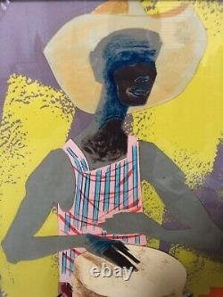 Antique Mid Century African American Black Modernism Painting Drums Exhibit