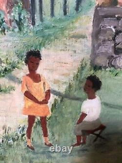 Antique Mid Century Black African American Modern Folk Art Oil Painting