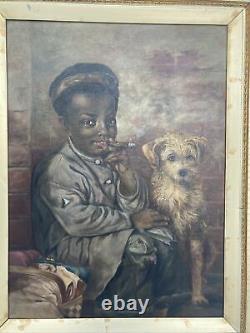 Antique Oil Painting Black Boy Smoking Cigar African American Portrait Dog