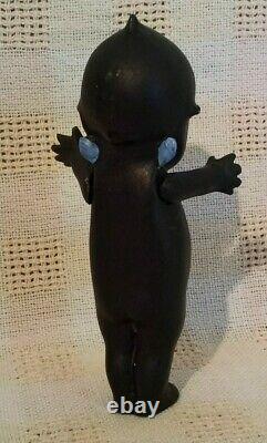 Antique Original Rare Black Bisque Signed Rose Oneil Kewpie Angel Wing Doll 5