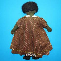 Antique Primitive Black Americana Cloth Doll Embroidered Face Brown Calico Dress