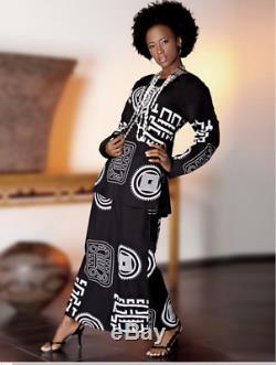 Ashro Black White Ethnic African American Pride Dress Power Print 3 Pc Wardrober