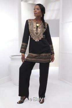 Ashro Ethnic African American Pride Gold Black Dashiki Pant Set S M 2X PLUS