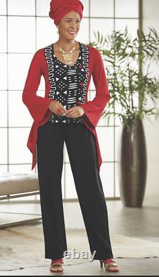 Ashro Red Black Ethnic African American Pride Pant Set 8 14 16W 18W 22W 24W 26W