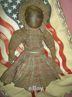 BABYLAND RAG Antique cloth black Americana TOPSY-TURVY 2-sided rare doll 12