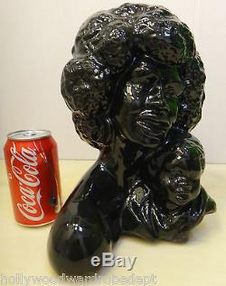 BLACK african american 1960s 1970 vtg porcelain panther AFRO figure disco laquer